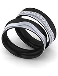 Anillos de compromiso, con grabado personalizable, de titanio
