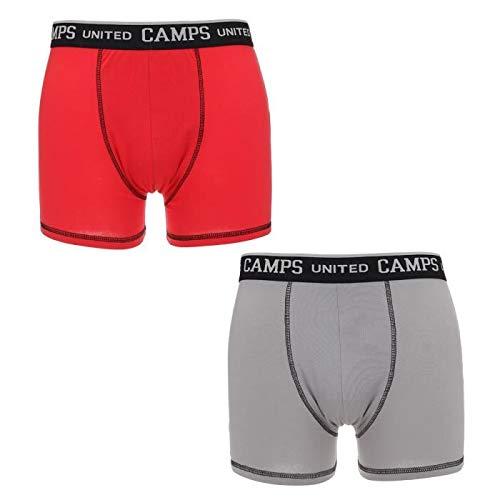 414ups5CrVL - CAMPAMENTOS Lote de 2 boxers grises y rojos para hombres