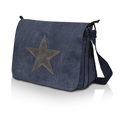Gloop Top Fashion Sterne Handtasche Schultasche Canvas KunstLeder Trend Tragetasche TS201701 23109 Blau
