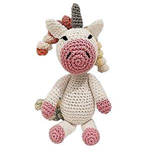 LOOP BABY gehäkeltes Einhorn Emilia – gehäkeltes Kuscheltier für Baby/Mädchen/Jungen aus Baumwolle –
