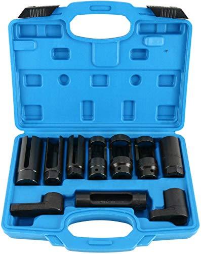 FreeTec 10 tlg Lambdasonde Spezail Nüsse Set Lambdasonden Steckschlüssel Stecknüsse Werkzeug Set