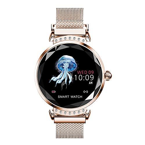 Frauen Smart Watch Fitness Tracker, Pulsuhr-Kalorien-Zähler-Uhr mit Farbbildschirm, IP67 wasserdichte Smartwatches(roségold)