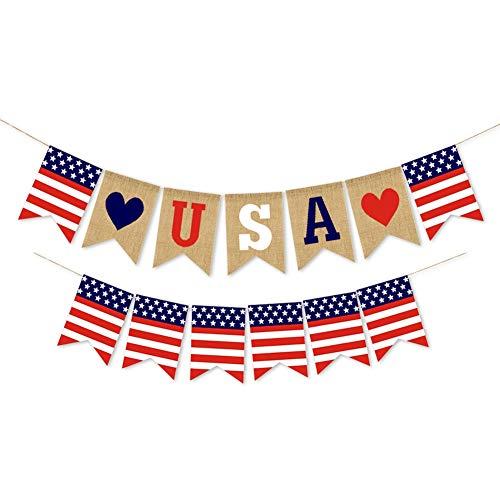 ChYoung USA patriotische Banner amerikanische Flagge Banner Unabhängigkeitstag Banner 4. Juli Unabhängigkeitstag Dekoration