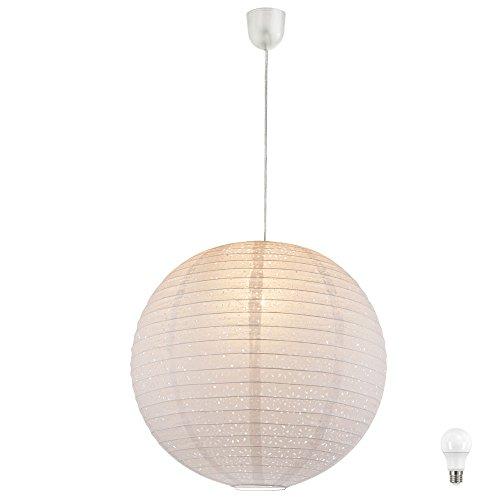 Hänge Pendel Leuchte Gästezimmer Kugel Lampe Papier Schirm weiß EEK A+ im Set inkl. LED Leuchtmittel