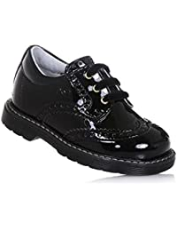 NERO GIARDINI - Zapato Oxford de cordones negro de charol, made in Italy, con elaboración perforada estilo Oxford, Niña, Niñas