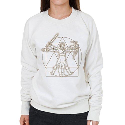 Zelda Vitruvian Link Women's Sweatshirt white
