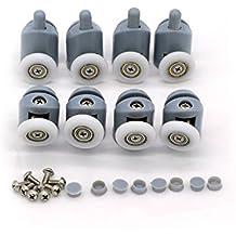 8 rodamientos para raíles de mampara de ducha, 20-27 mm.