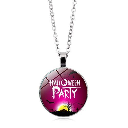 Blisfille Happy Halloween Zeit Edelstein Halskette Anhänger Halskette Festival Damen Herren Fest - Kimono Wand