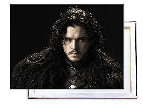 Unified Distribution Game of Thrones - Jon Snow - Kit Harington - 80x60 cm - Bilder & Kunstdrucke fertig auf Leinwand aufgespannt und in erstklassiger Druckqualität -