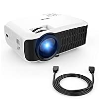 DBPOWER T22 HD Video Projector 2400 Lumens Supports 1080p with HDMI AV Cable for Multimedia Home Cinema, TVs, Laptops, Games, SD cards, iPads and iPhone and Android smartphones-White