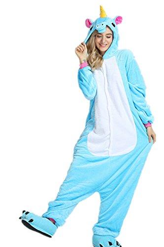 VineCrown Schlafanzug Einhorn Pyjamas Tier Overall Karikatur Neuheit Jumpsuit Kostüme für Erwachsene Kinder Weihnachten Karneval Cosplay (S for 150CM- 160CM, Blue Unicorn)