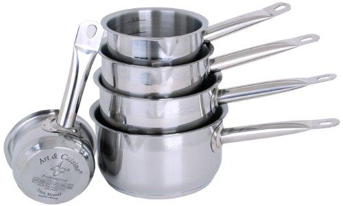 Art & Cuisine - série de 5 casseroles - tous et induction - inox massif - bec verseur et graduation