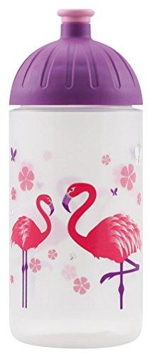 ISYbe Trinkflasche 0,5L (BPA-frei, spülmaschinengeeignet, auslaufsicher) (Flamingo, weiß-transparent)