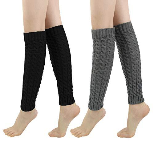 (LADES DIRERCT Damen Stulpen - Stricken Beinstulpen Socken Mit Fersenloch Gestrickt Beinwärmer Ballett Yoga Stulpen Legwarmer Strümpfe 1980er Jahre Party Kleid (Schwarz+Grau 1))