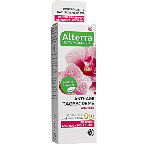 Alterra Anti-Age Tagescreme Orchidee 50 ml für reife & anspruchsvolle Haut, mit Bio-Olivenöl, zellaktiv & natürlichem Q10, zertifizierte Naturkosmetik, vegan, ÖKO-TEST GUT