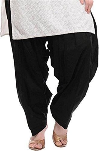 ChanchalTraditional Patiala Salwar 100% Cotton Free Size (Black)