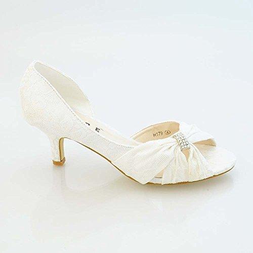 XINJING-S Frauen Damen Satin niedrigem Absatz Hochzeit Prom Braut Abend Schuhe Größe 3-8 H 179 Weiße Spitze