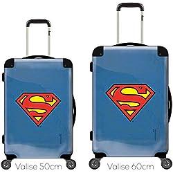Maleta Personalizada y Personalizable, Cara Transparente, Vista Intercambiable, Ref. Marvel DC Comics Superman Logo Efecto Azul LOG-0002-BLU Negro Negro 50