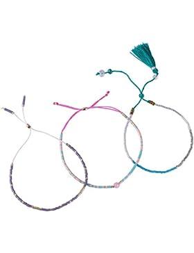 3 Stücke Samen Perle Armband Handgefertigt Freundschaft Armband Bunt Quasten Strand Armband Neu Schmuck