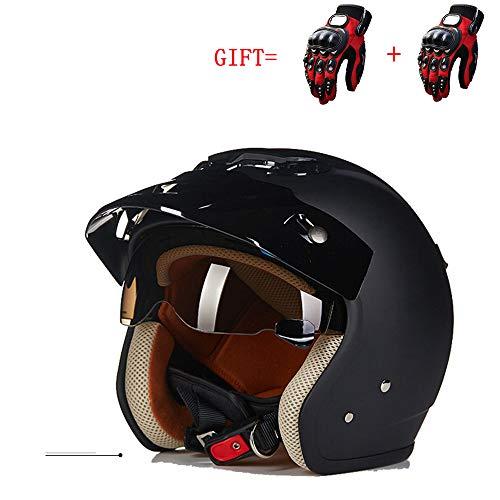 MMGIRLS Klassische Motorradhelm Retro-Stil Harley Halbhelm Vier Jahreszeiten Männer und Frauen Outdoor-Sport-Sicherheitsausrüstung & Fahrradhandschuhe - matt schwarz,XXL
