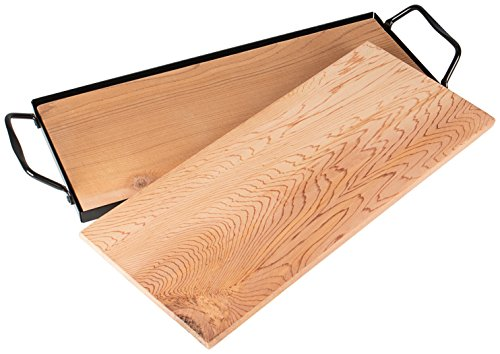 Rustler Tavolette Legno per Grigliare / Set da 2 Tavolette per Planking con Vassoio Acciaio al Carbonio 36 x 15 x 35