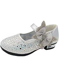 Free Fisher Antideslizante Merceditas Zapatos de boda fiesta baile, diseño brillante con tacón bajo para niñas