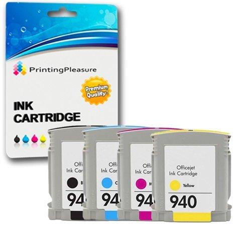8500 Cyan Magenta Gelb Tinte (Printing Pleasure 4 Tintenpatronen kompatibel zu HP 940XL mit Chip für HP Officejet Pro 8000 8000W 8500 8500A 8500W A809a A809n A909a A909g A909n - Schwarz/Cyan/Magenta/Gelb, hohe Kapazität)