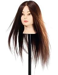 Goodofferplace® 95% Cheveux Brun Long Naturel Tête À Coiffer Coiffure Femme Mannequin+Titulaire