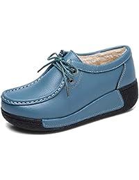 FHTDW Scarponi Da Neve In Pelle Da Donna Zeppe Con Plateau Con Zeppa  Sneakers Fitness Scarpe Da Corsa Casual Slip On Scarpe Da… 60c60f8e2dd