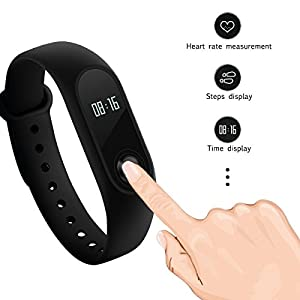 riversong® Tracker de fitness, Xiaomi Band 2Tracker d'activité imperméable avec rythme cardiaque et moniteur écran OLED (Noir)