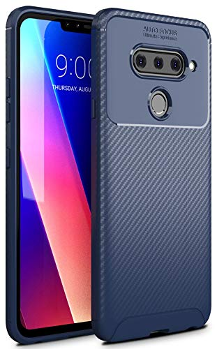 Case Collection Carbonfaser Design Hülle für LG V40 Hülle Komfortable Griffigkeit Slim-Fit [Schutz vor Stößen] Weiches Gel Rutschfestes Gummi [Kratzfest] für LG V40 Hülle