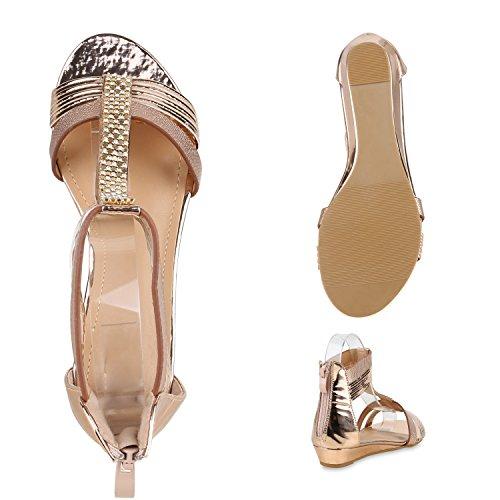 Bequeme Damen Keilsandaletten Strass Sandaletten Keilabsatz Rose Gold Verzierung