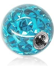 Crystal Soul-cats® Piercing Bola Tornillo Piercing Epoxi Ferido muchos tamaños, colores: azul claro, hilo: 1.2mm; tamaño de la bola: 3m m