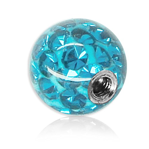 Soul-Cats® Piercing Kugel Kristall Gel Epoxy Ferido viele Größen, Farbe: hellblau, Gewinde: 1,2 mm; Kugelgröße: 5 mm