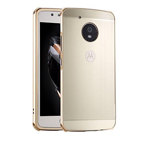 HUDDU Kompatibel mit Handy Hülle Motorola Moto G5 Plus Aluminum Handyhülle Ultra Dünn Überzug Metal Mirror Back Case Cover Matt Schutzhülle 2 in 1 Slim Spiegelnd Bumper Spiegelnder Handyschale - Gold