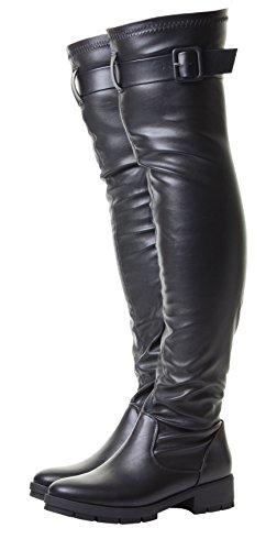 Kiley Femmes Noir Talon Daim élastique mollet en forme Au-dessus du genou Haute Bottes Simili Cuir Noir