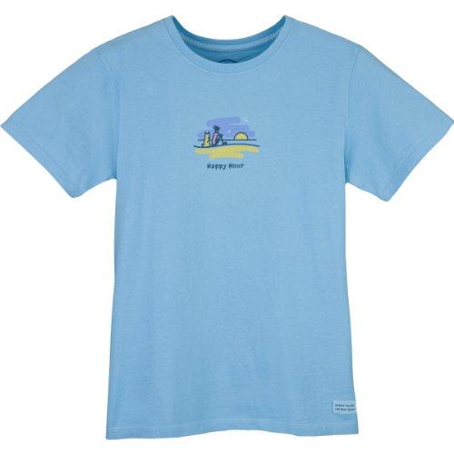Life is Good Damen Crusher Happy Hour Sunset T-Shirt Medium Beachhouse Blue