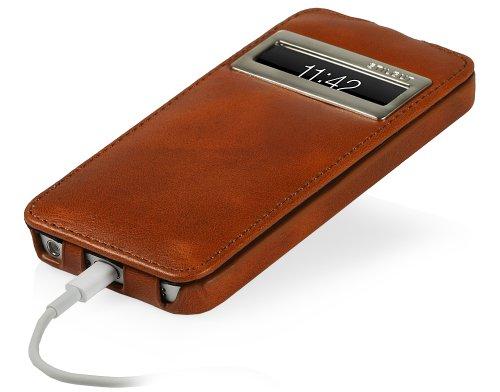 StilGut UltraSlim Case, Tasche aus Leder mit Sichtfenster (iOS 7) für Apple iPhone 5 & iPhone 5s, Cognac Cognac