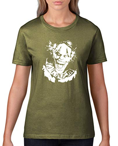 Comedy Shirts - Boeser Clown - Halloween - Damen T-Shirt - Oliv/Weiss Gr. XXL