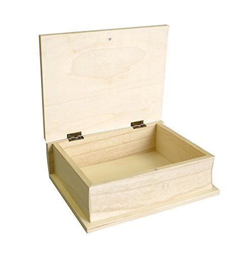 Artemio - Caja con forma de libro (17 x 21 x 7 cm, madera), color beige