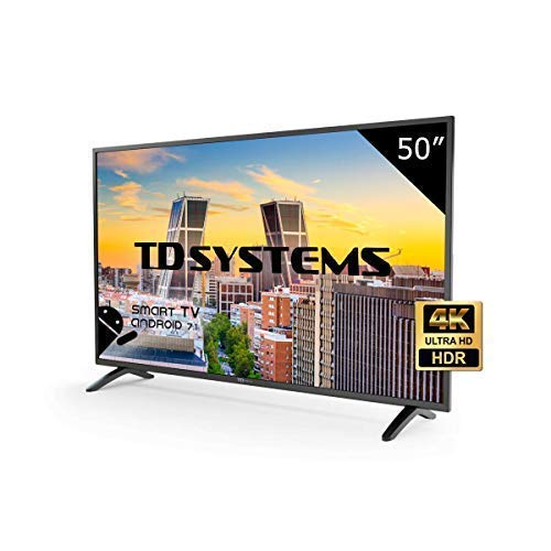 TD Systems K50DLM8US - Smart TV de 50' (Ultra HD 4K, resolución 3840 x 2160, HDR, 3X HDMI, VGA, 2X USB) Color Negro