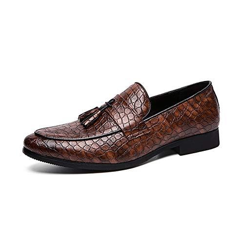 Jingkeke Herren Classic Work Dress Loafers for Herren Synthesis Leather Tassel Business Schuhe Snakeskin Emboss Antislip Rubber Sole Ins Auge fallend Mode (Farbe : Braun, Größe : 39 EU) (Loafer Bass Braun)