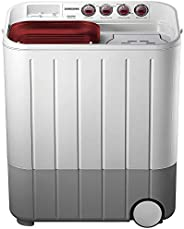 Samsung 6.5 kg Semi-Automatic 5 Star Top Loading Washing Machine (WT667QPNDPGXTL, White and Maroon, Double Sto