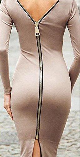 Damen Kleid Jerseykleider Etuikleider Knielang Lange Ärmel Rundkragen Rückenfrei Paket Hüfte Herbst Geöffnete Gabel Reißverschluss Einfarbig Lässig Aprikose