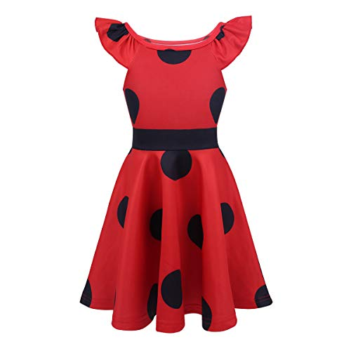 iEFiEL Mädchen Kleid Top Tunika Marienkäer Freizeit Kleid mit Schawarze Polka Dots Party Cosplay Verkleidung Rot (Flügelärmel) 98-104 (Halloween-kostüme Bug Fashion)