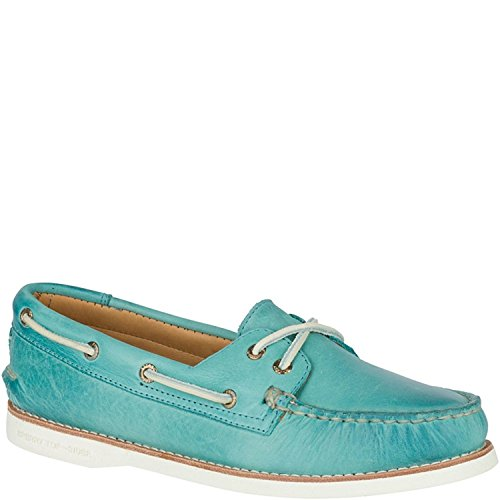 Sperry Top-Sider Women's Gold Cup A/O Seasonal Boat Shoe,Turquoise Leather,US 6 (Cup Sperry Gold)
