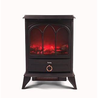 Kenley Chimenea Electrica – Efecto Estufa de Leña Ardiendo – Calefactor con Termostato – 1000W/2000W