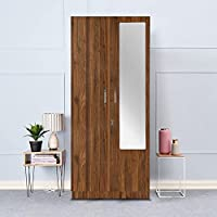 Wakefit Gingham Engineered Wood Wardrobe Wall Anchored, Columbia Walnut, 2 Door with Middle Drawer, Mirror and 1 Hanging…