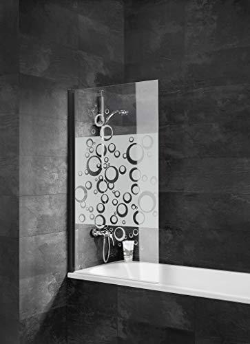 Schulte 4060991061660 Schwingscheibe, klappbare Wand, Badewannenschirm schwarz, 1 Klappklappe, Glas Dekor Blasen