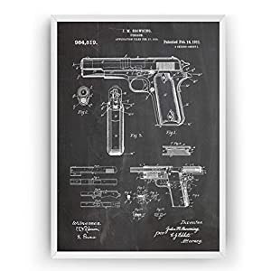 1911 Handfeuerwaffe Patent Poster – Jahrgang Drucke Drucken Bild Kunst Geschenke Zum Männer Frau Entwurf Dekor Vintage Art Gifts Blueprint Decor – Rahmen Nicht Enthalten